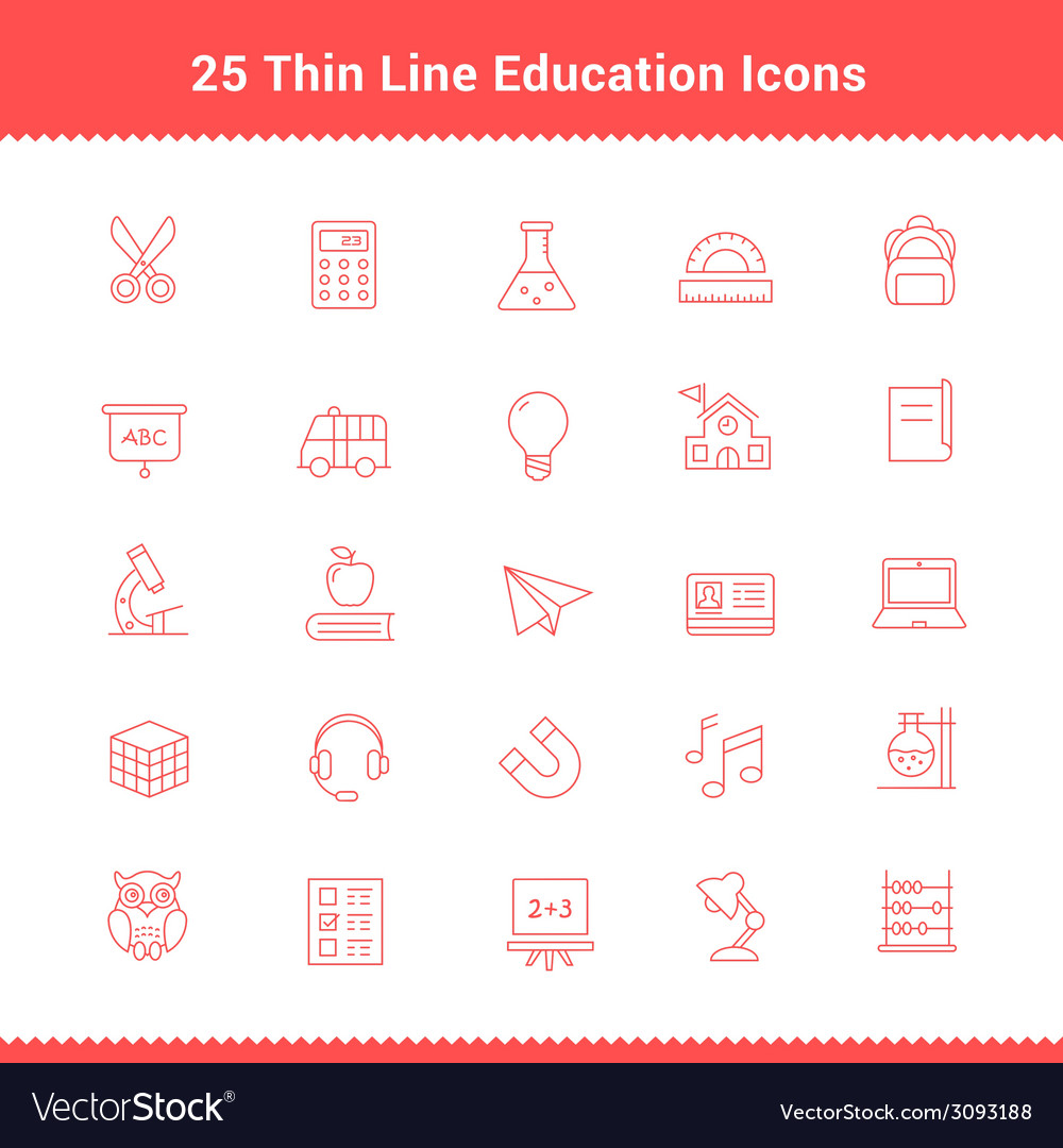 Set of thin line stroke education icons vector | Price: 1 Credit (USD $1)