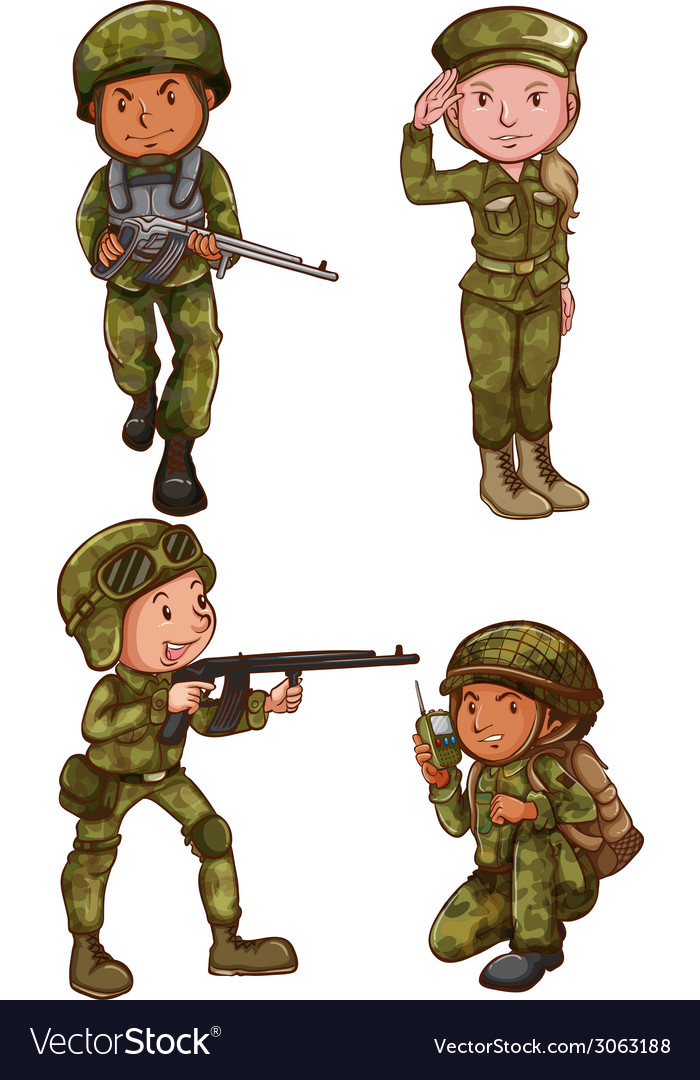Simple sketches of the soldiers vector | Price: 1 Credit (USD $1)