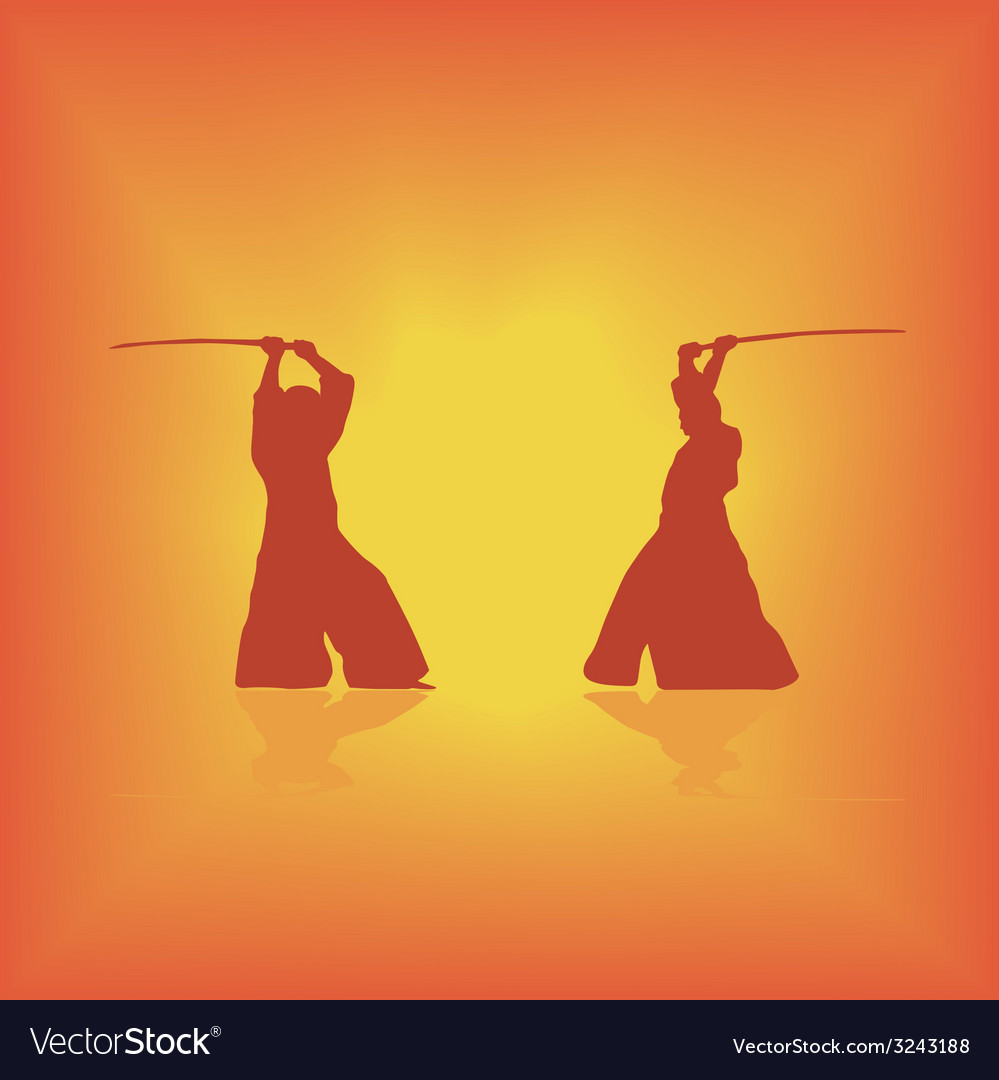 Two men are occupied with aikido on a yellow vector | Price: 1 Credit (USD $1)