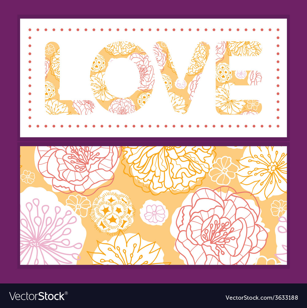 Warm day flowers love text frame pattern vector | Price: 1 Credit (USD $1)