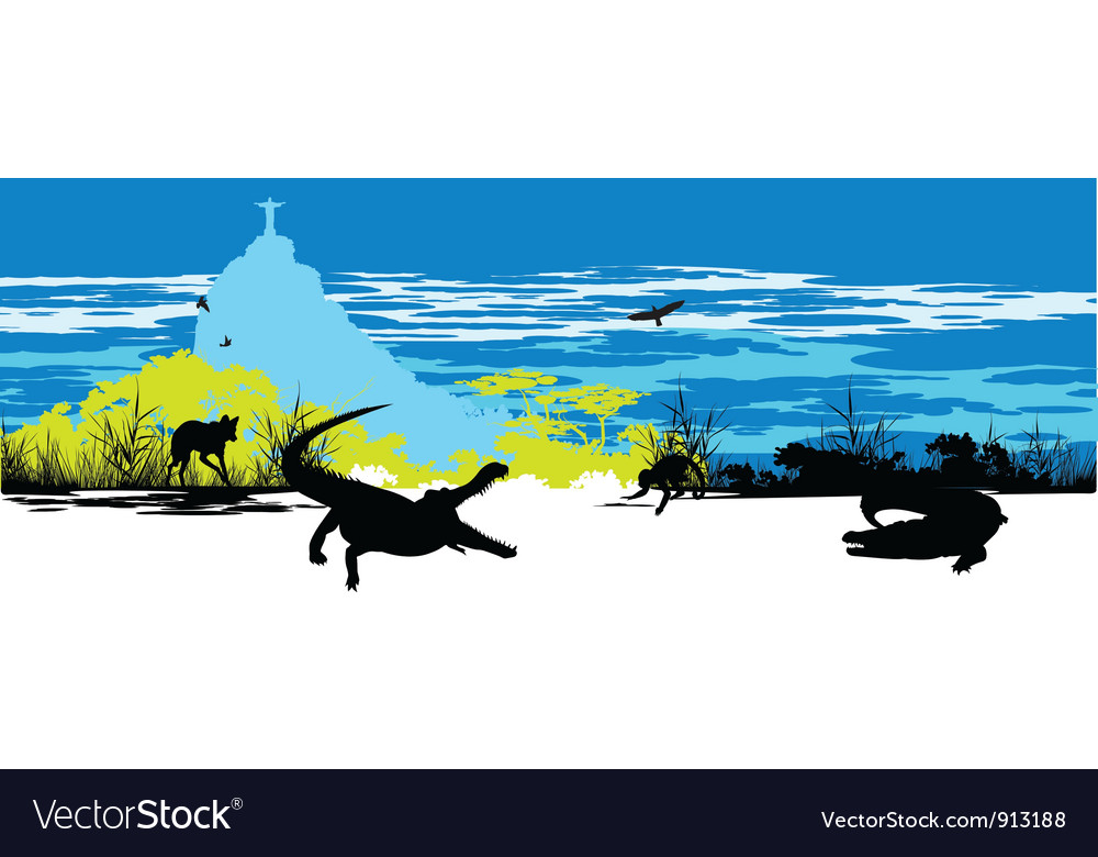Wild crocodiles vector | Price: 1 Credit (USD $1)