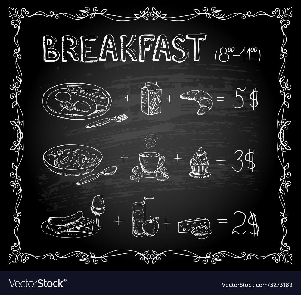 Breakfast chalkboard menu vector