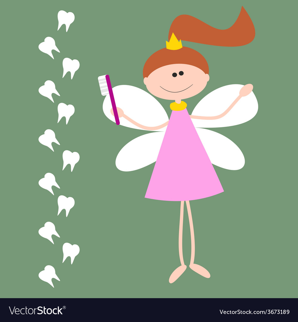 Card with the tooth fairy girl with wings and vector | Price: 1 Credit (USD $1)