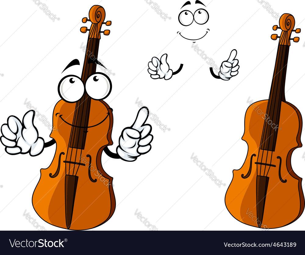 Cartoon smiling brown violin character vector | Price: 1 Credit (USD $1)