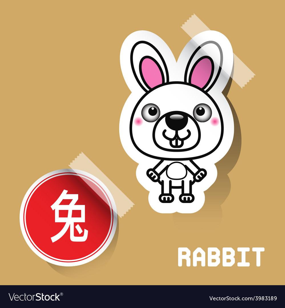 Chinese zodiac sign rabbit sticker vector | Price: 1 Credit (USD $1)