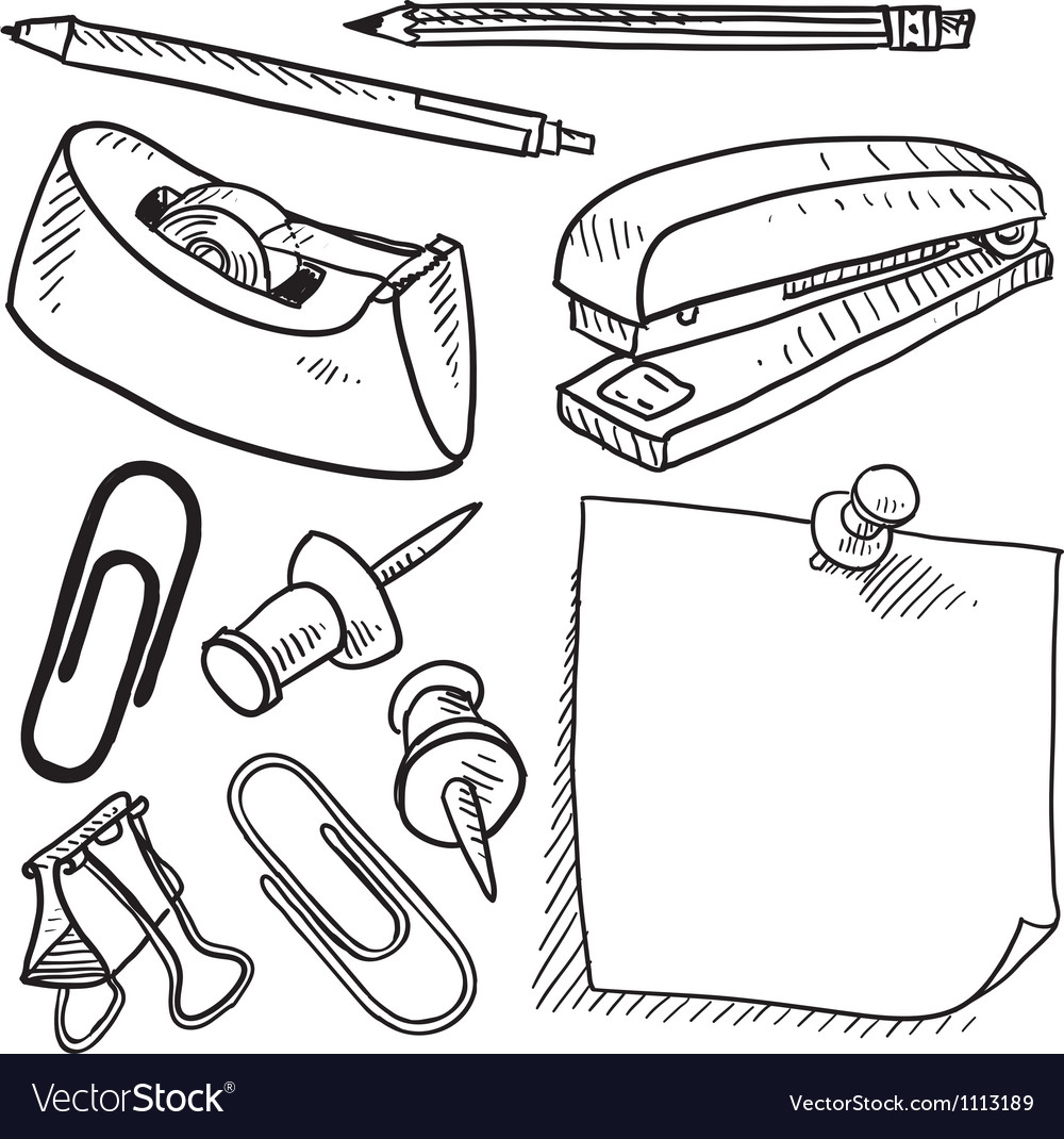 Doodle office supplies vector | Price: 1 Credit (USD $1)