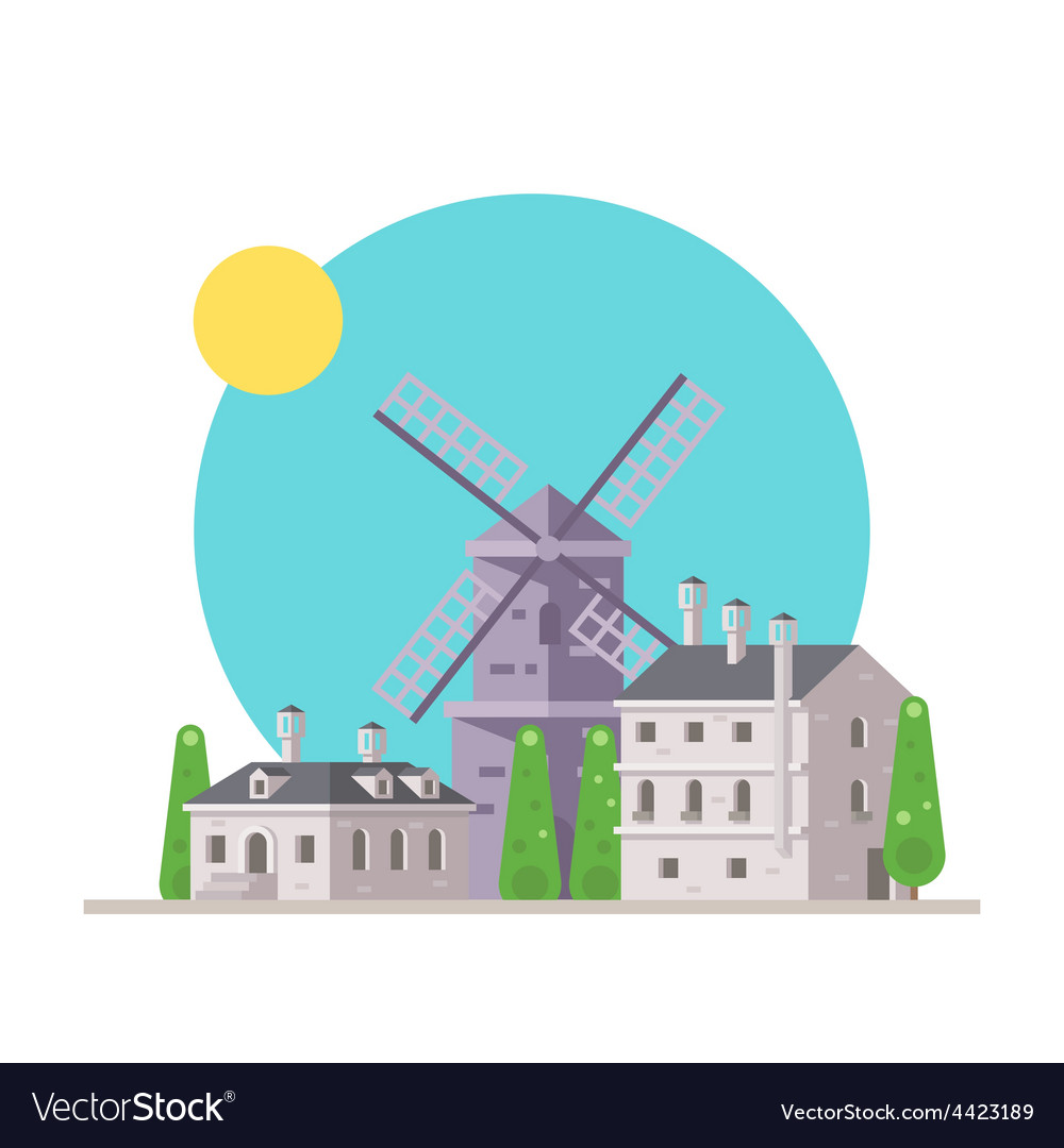 Flat design of europe village with windmill vector | Price: 3 Credit (USD $3)