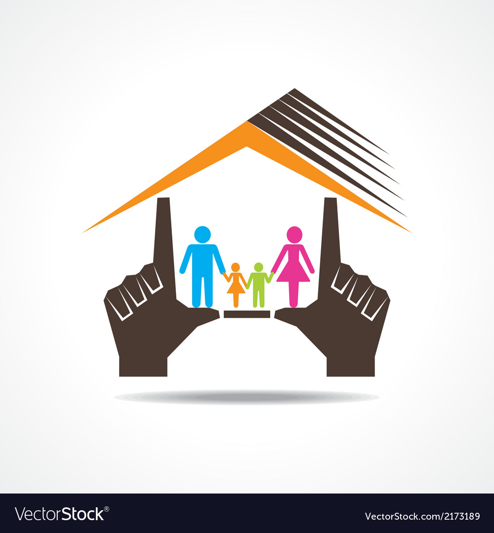 Hand make home with family vector | Price: 1 Credit (USD $1)