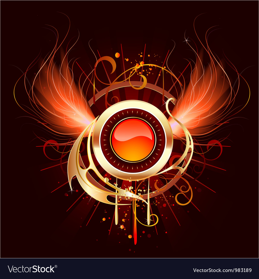 Hot round banner with fiery wings vector | Price: 3 Credit (USD $3)