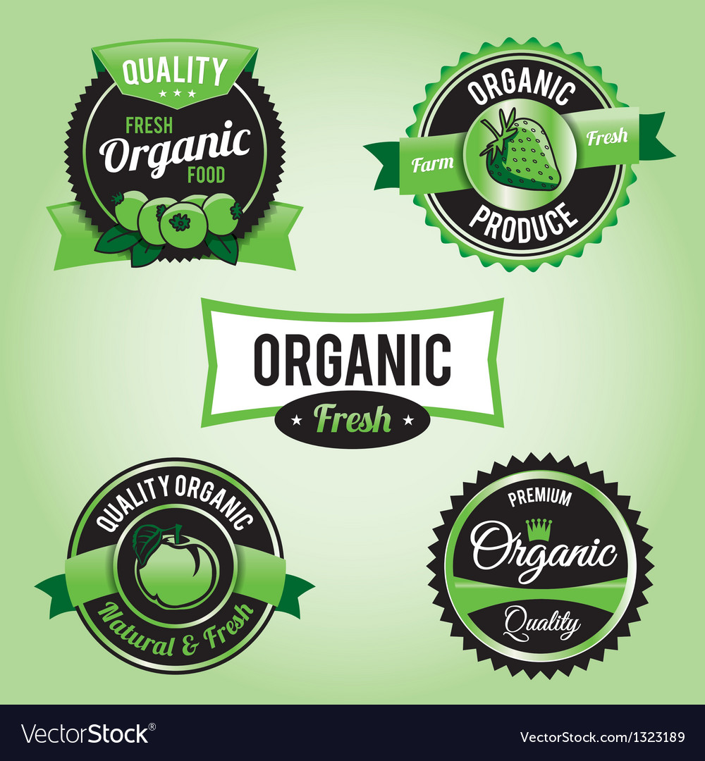 Organic labels and badges vector | Price: 1 Credit (USD $1)