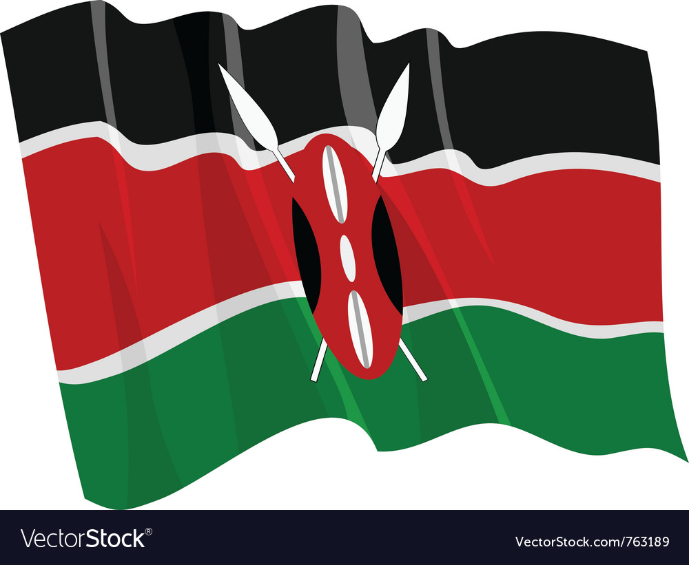 Political waving flag of kenya vector | Price: 1 Credit (USD $1)