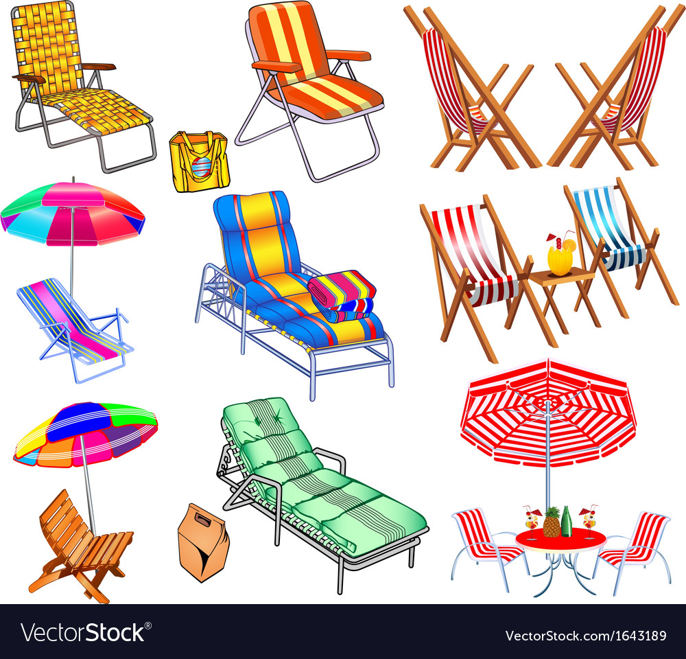 Set of chairs sun beds and umbrellas vector | Price: 1 Credit (USD $1)