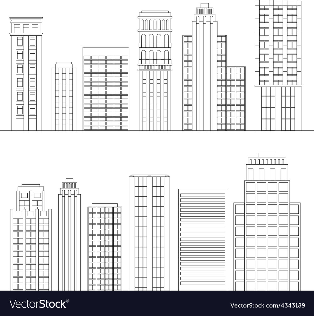 Set of line skyscrapers black and white vector | Price: 1 Credit (USD $1)