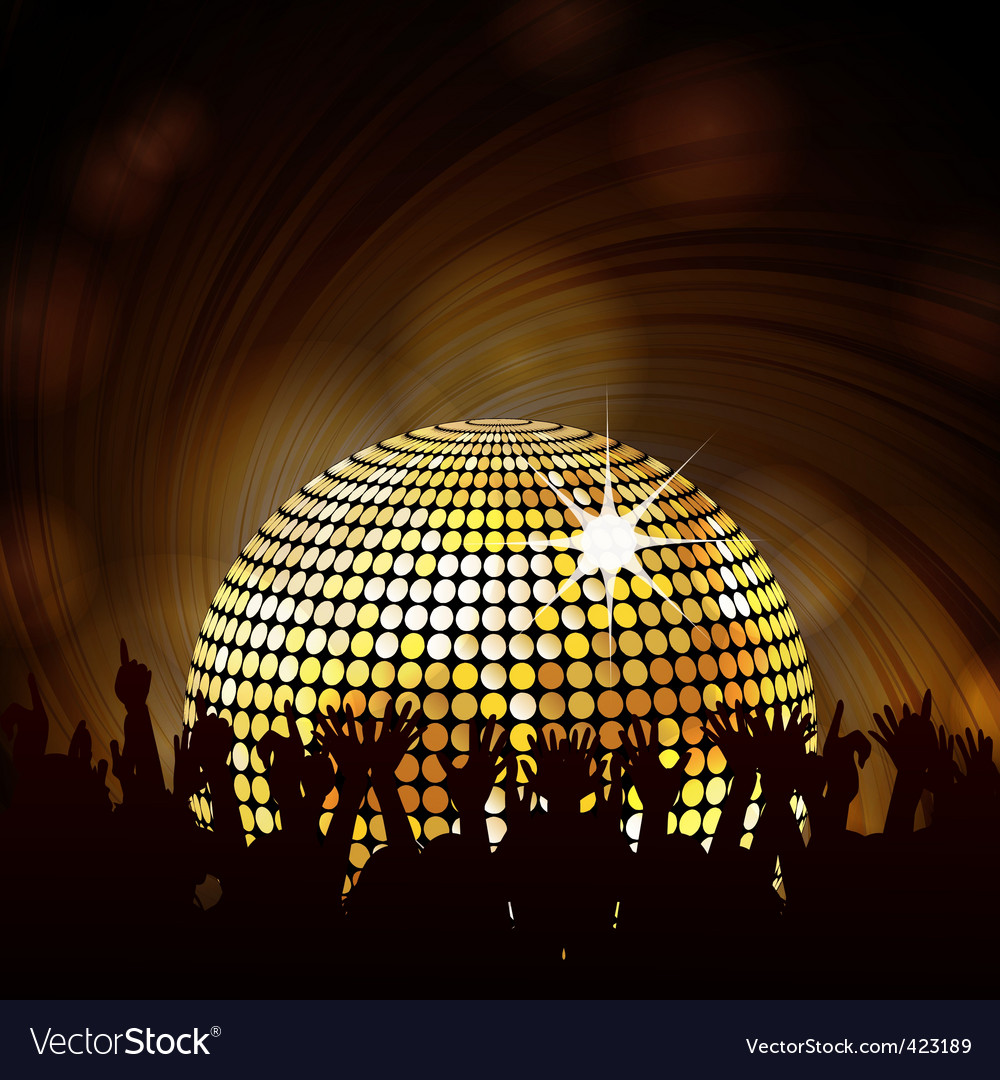 Sparkling disco ball and crowd vector | Price: 1 Credit (USD $1)