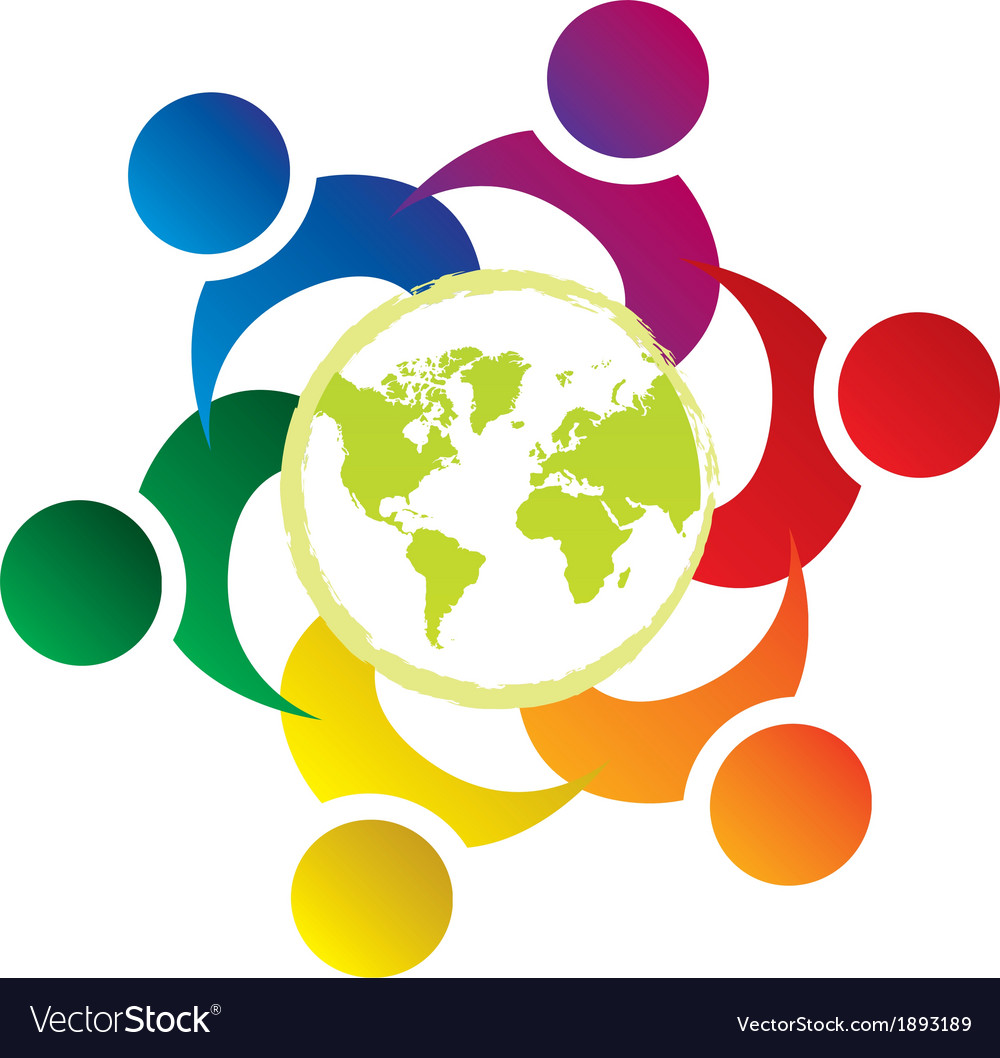 Teamwork union people world vector | Price: 1 Credit (USD $1)