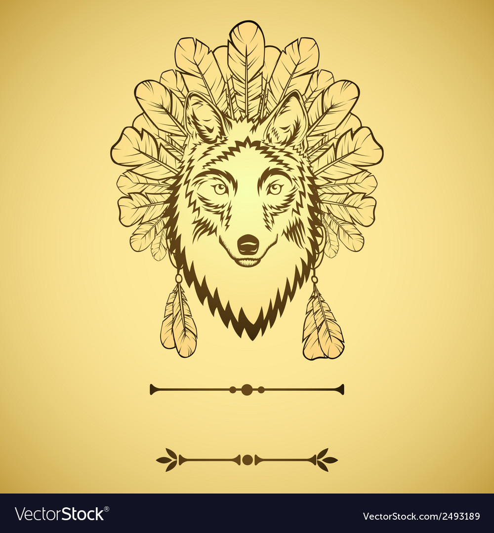 Totem with wolf and feathers vector | Price: 1 Credit (USD $1)