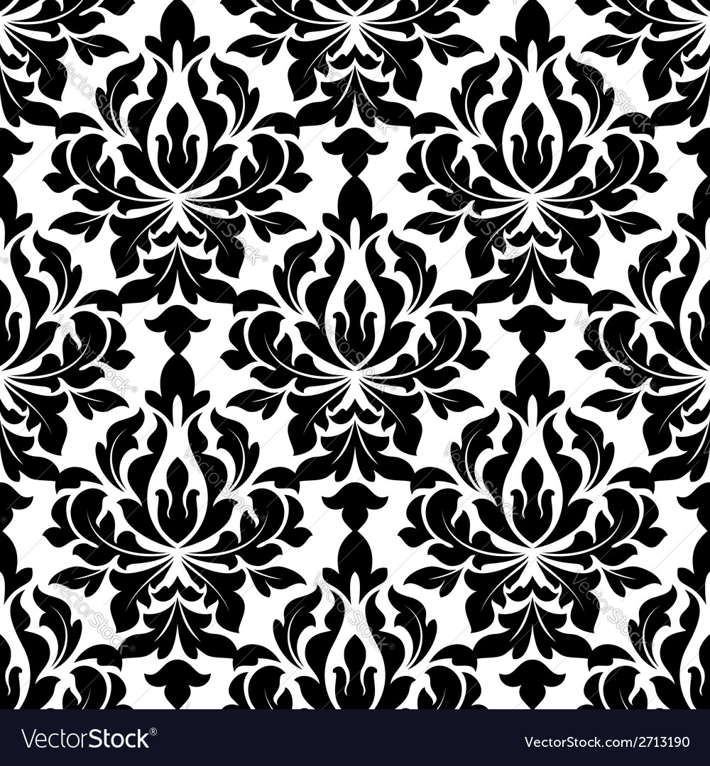 Black colored floral arabesque seamless pattern vector | Price: 1 Credit (USD $1)
