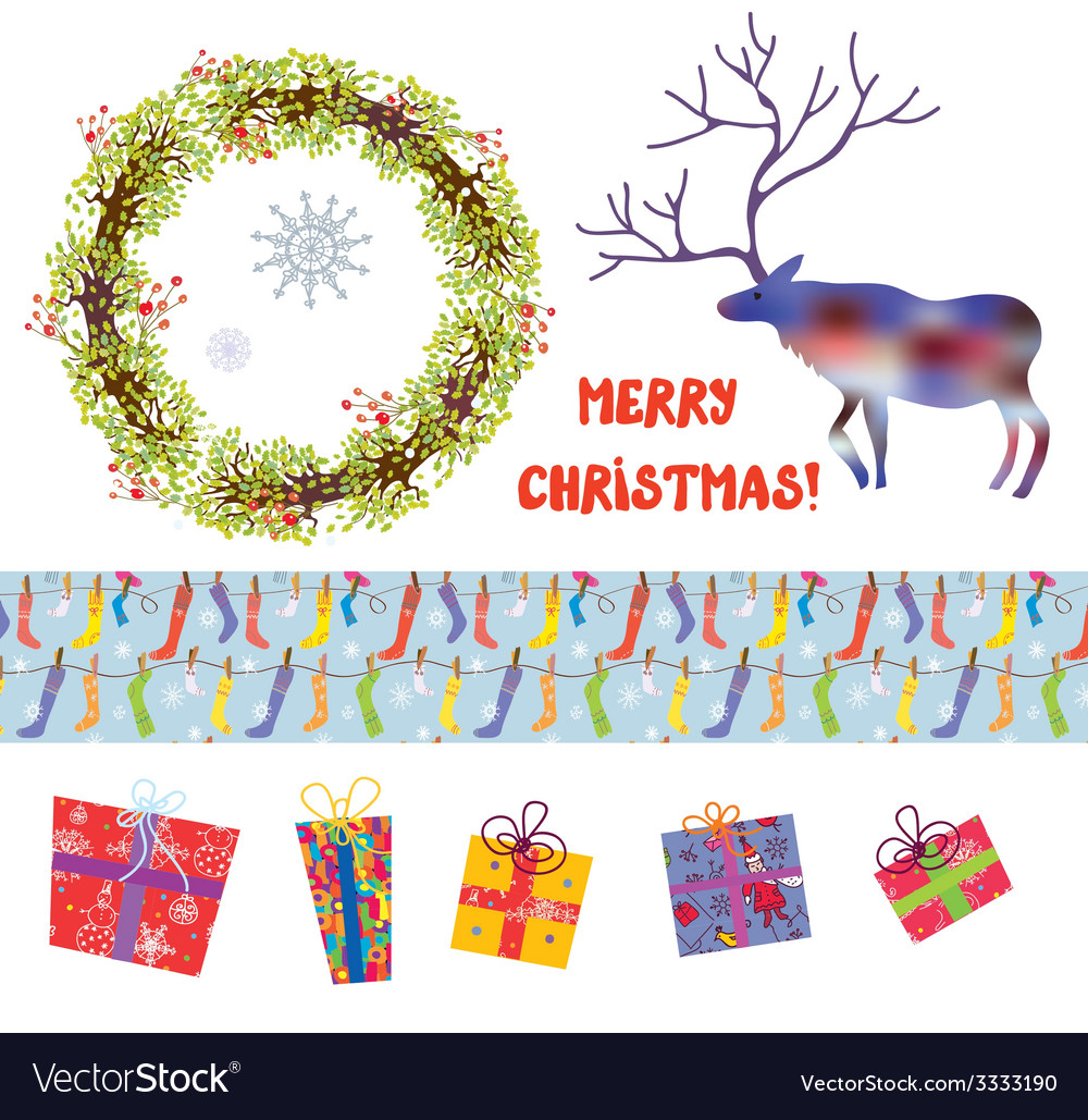 Christmas design elements set - funny cartoons vector | Price: 1 Credit (USD $1)