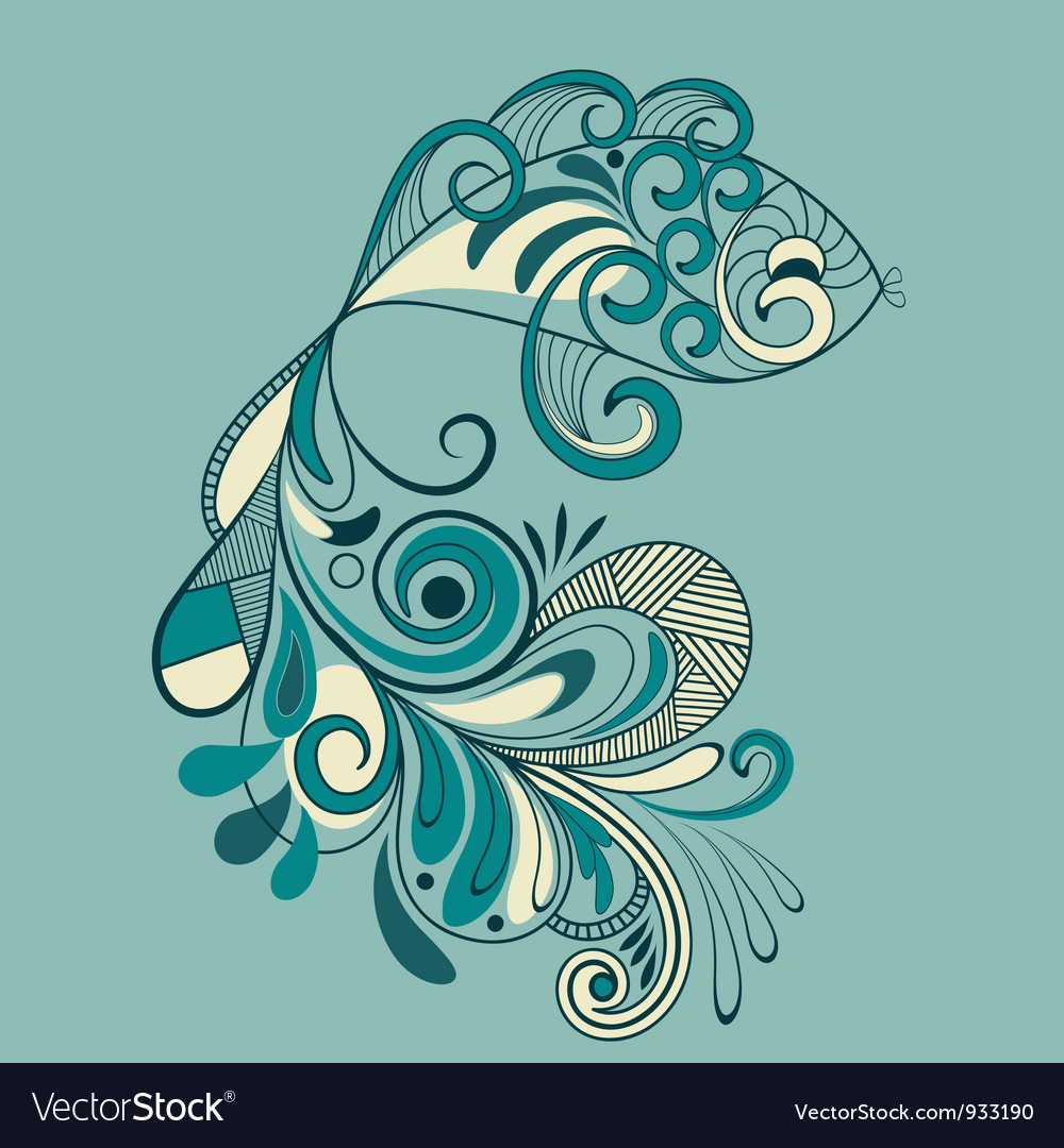 Fish with flaral pattern detailed tail vector | Price: 1 Credit (USD $1)