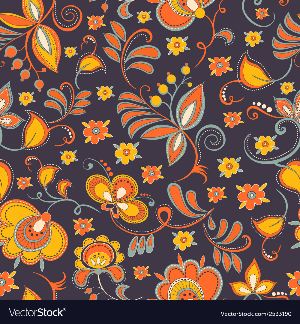 Floral theme seamless pattern vector | Price: 1 Credit (USD $1)
