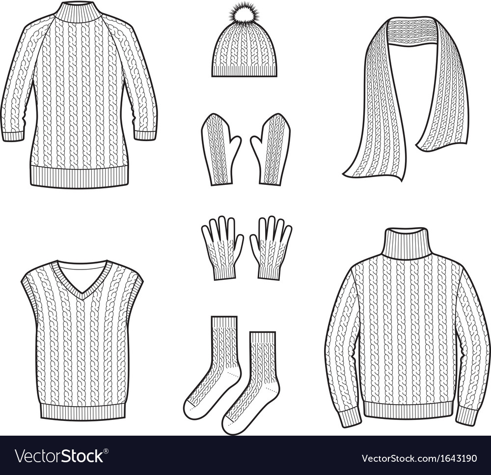 Knitted clothes and accessories vector | Price: 1 Credit (USD $1)