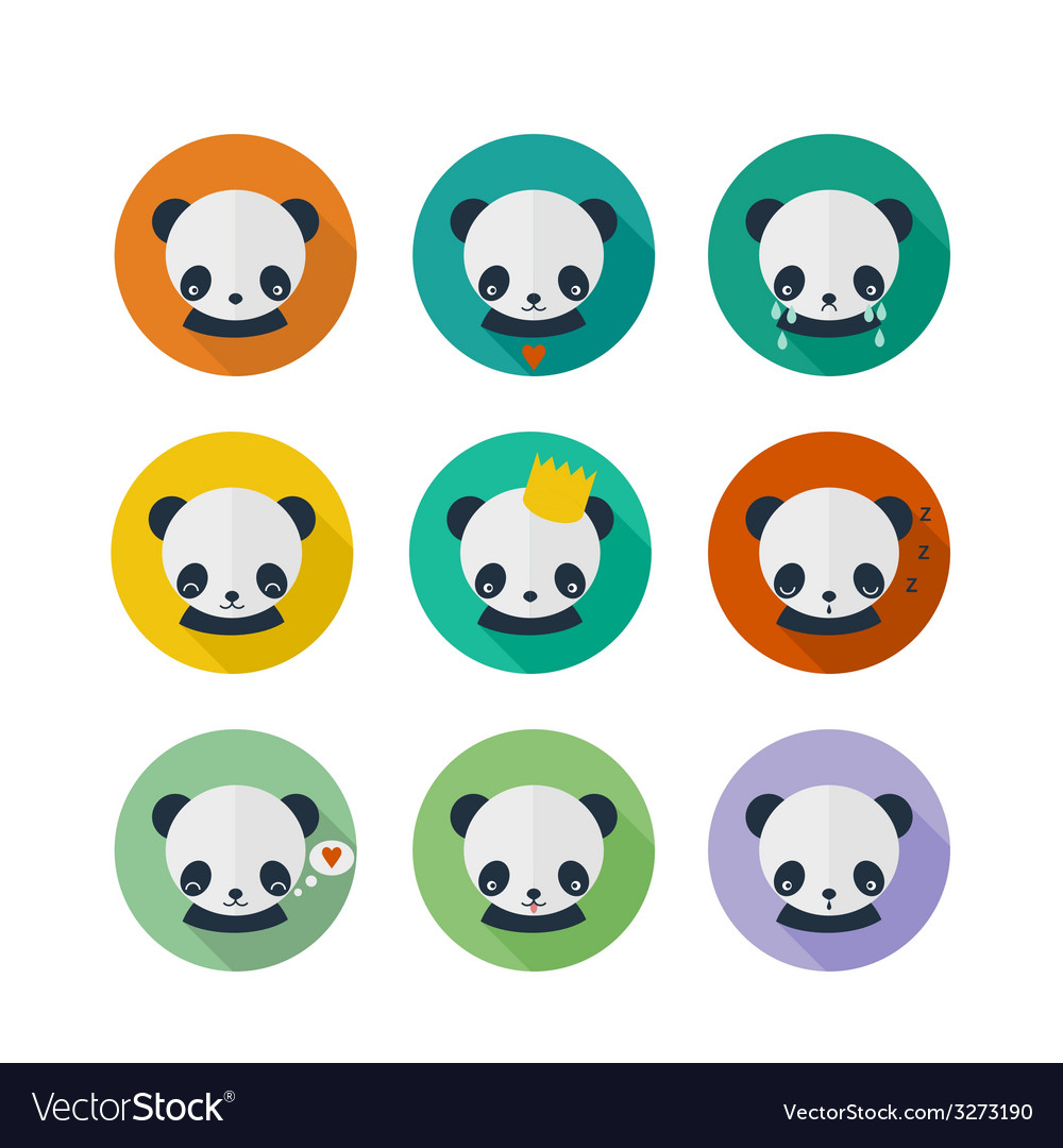 Panda icons set in flat design vector | Price: 1 Credit (USD $1)