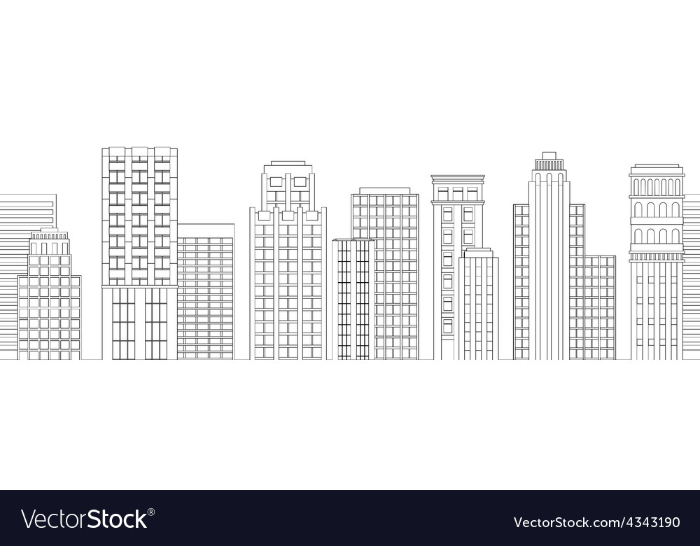 Seamless border of line skyscrapers black and vector | Price: 1 Credit (USD $1)