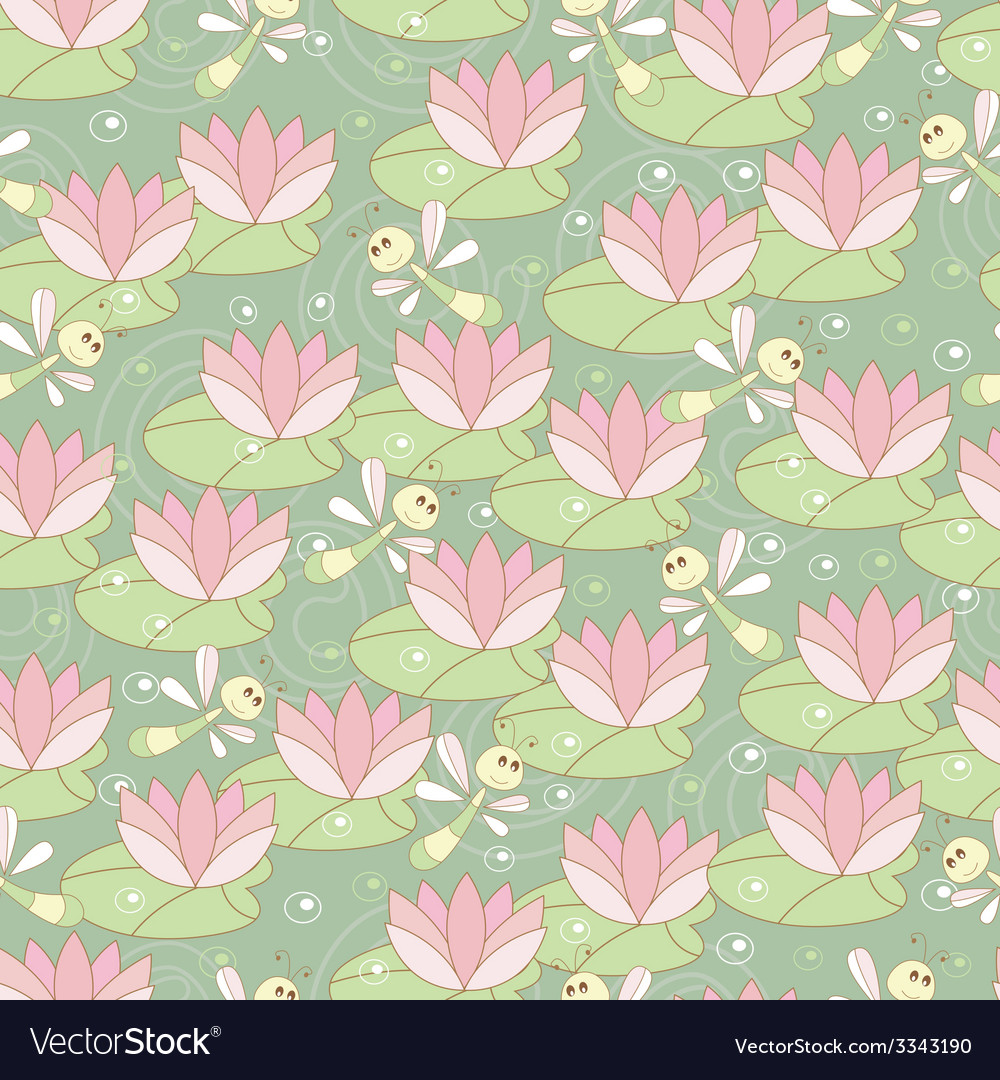 Seamless pattern with dragonflies and lotus vector | Price: 1 Credit (USD $1)