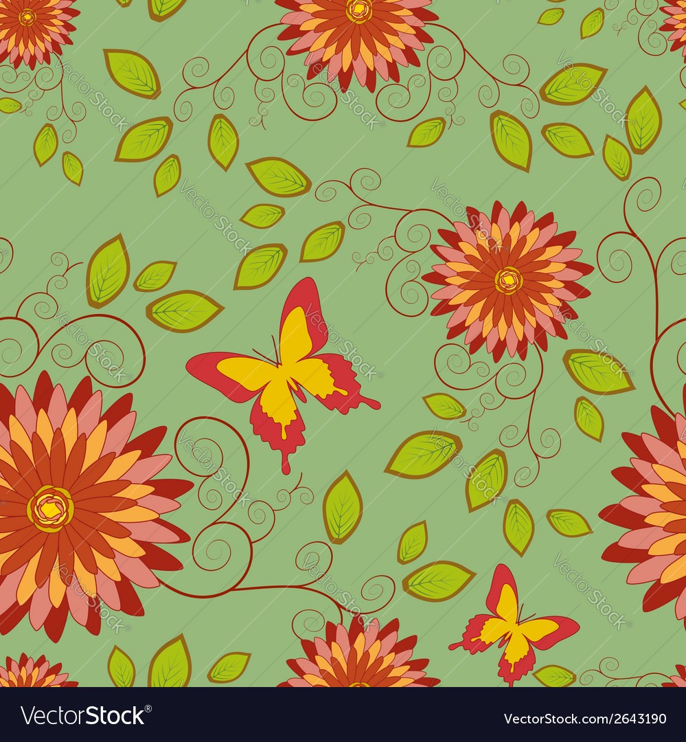 Seamless pattern with flower and butterfly vector | Price: 1 Credit (USD $1)