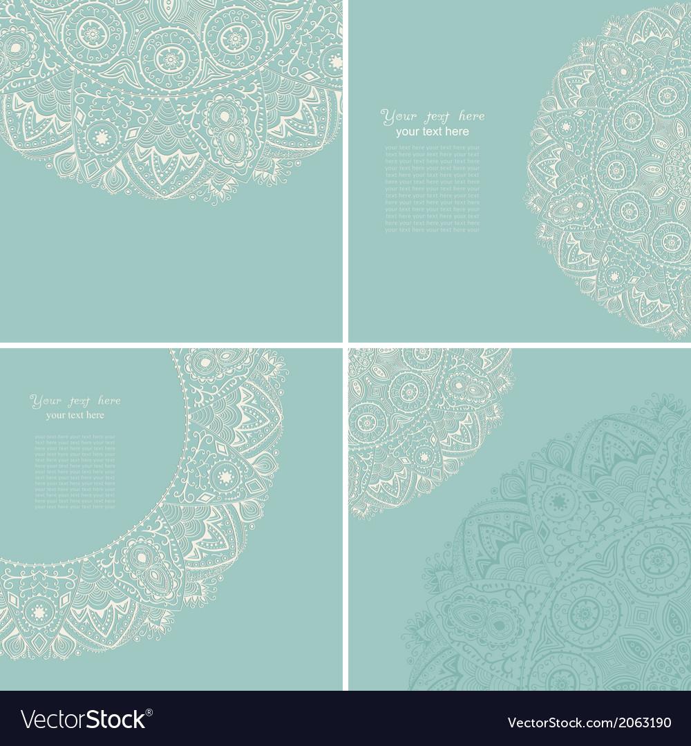 Vintage invitation card set template frame design vector | Price: 1 Credit (USD $1)
