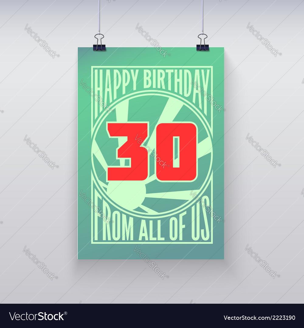 Vintage retro poster happy birthday vector | Price: 1 Credit (USD $1)