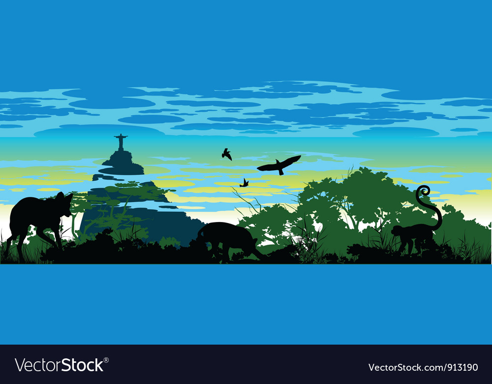 Wild jungle animals in brazil vector | Price: 1 Credit (USD $1)