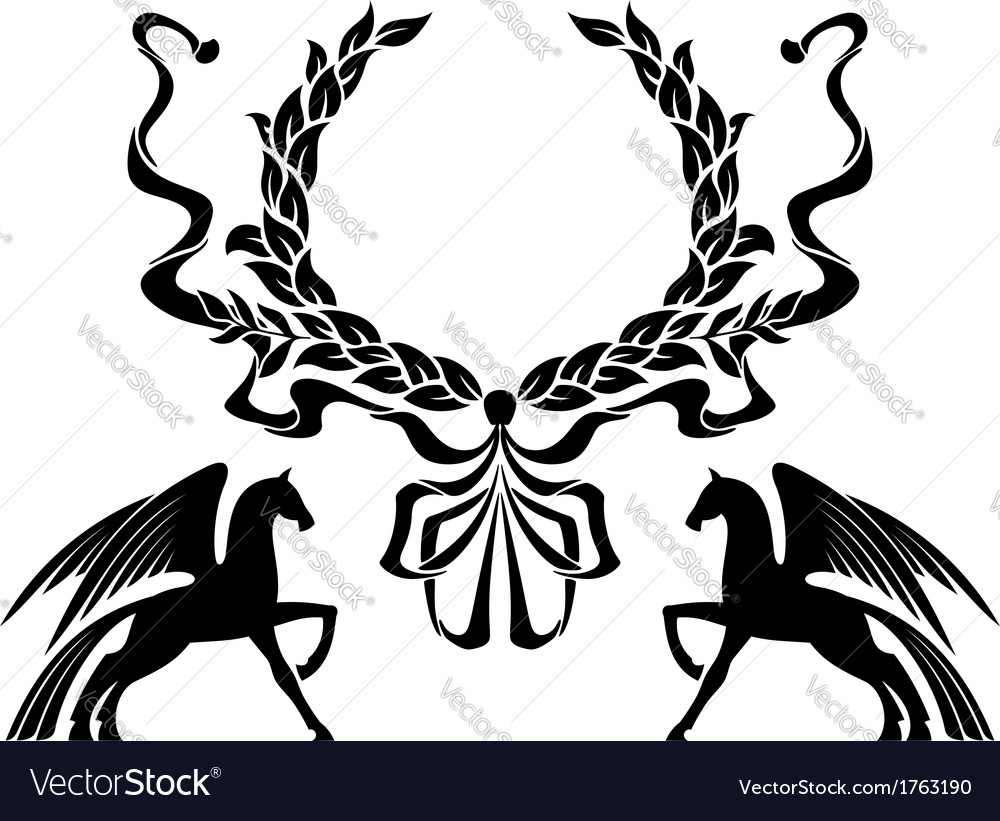 Winged horses with laurel wreath vector | Price: 1 Credit (USD $1)