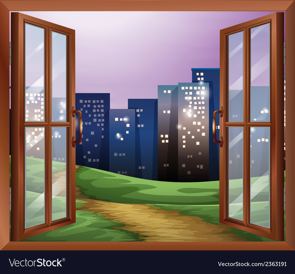 A window with a view of the tall buildings vector | Price: 3 Credit (USD $3)