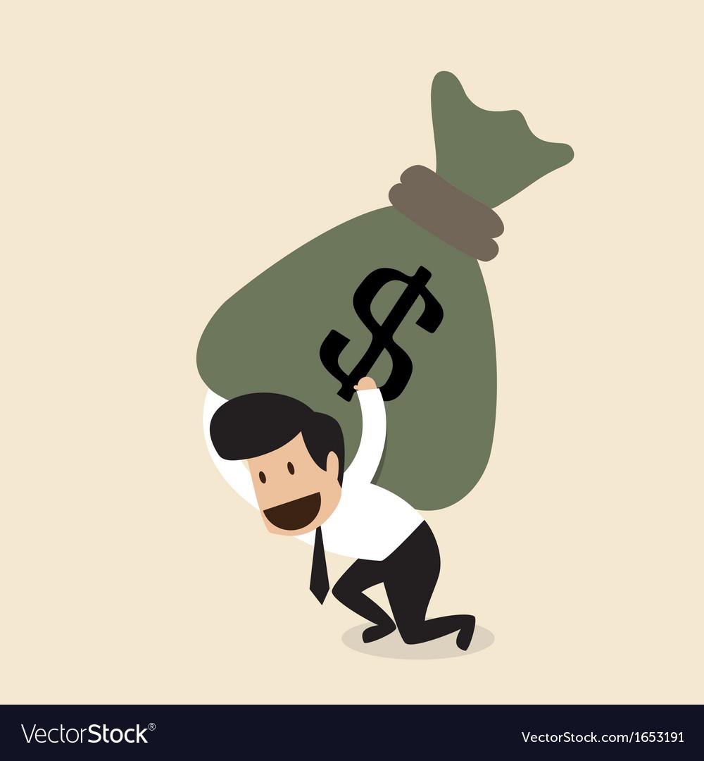 Businessman carry huge money bag vector   Price: 1 Credit (USD $1)