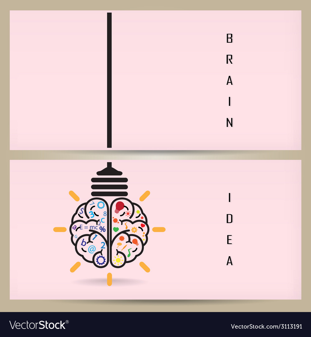 Creative brain idea and light bulb banner concept vector | Price: 1 Credit (USD $1)