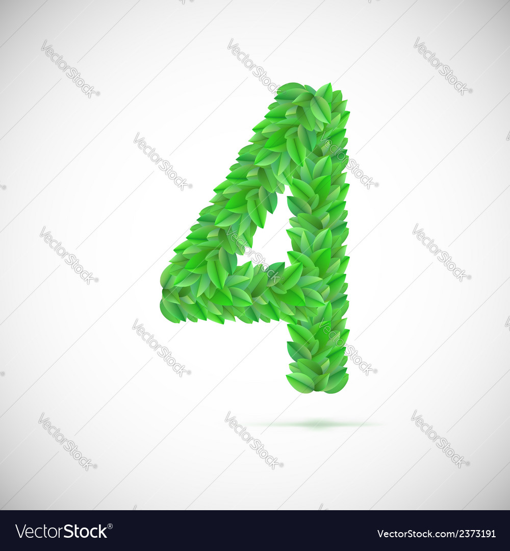 Number four made up of green leaves vector | Price: 1 Credit (USD $1)