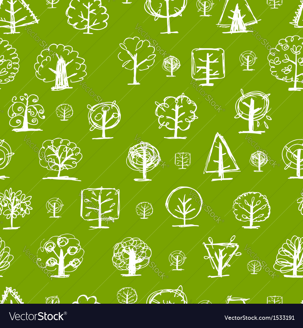 Seamless pattern doodle trees for your design vector | Price: 1 Credit (USD $1)
