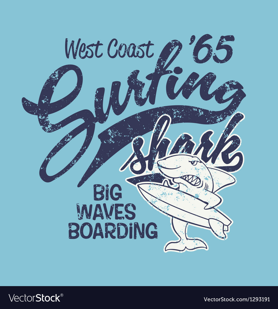 Surfing shark vector | Price: 1 Credit (USD $1)