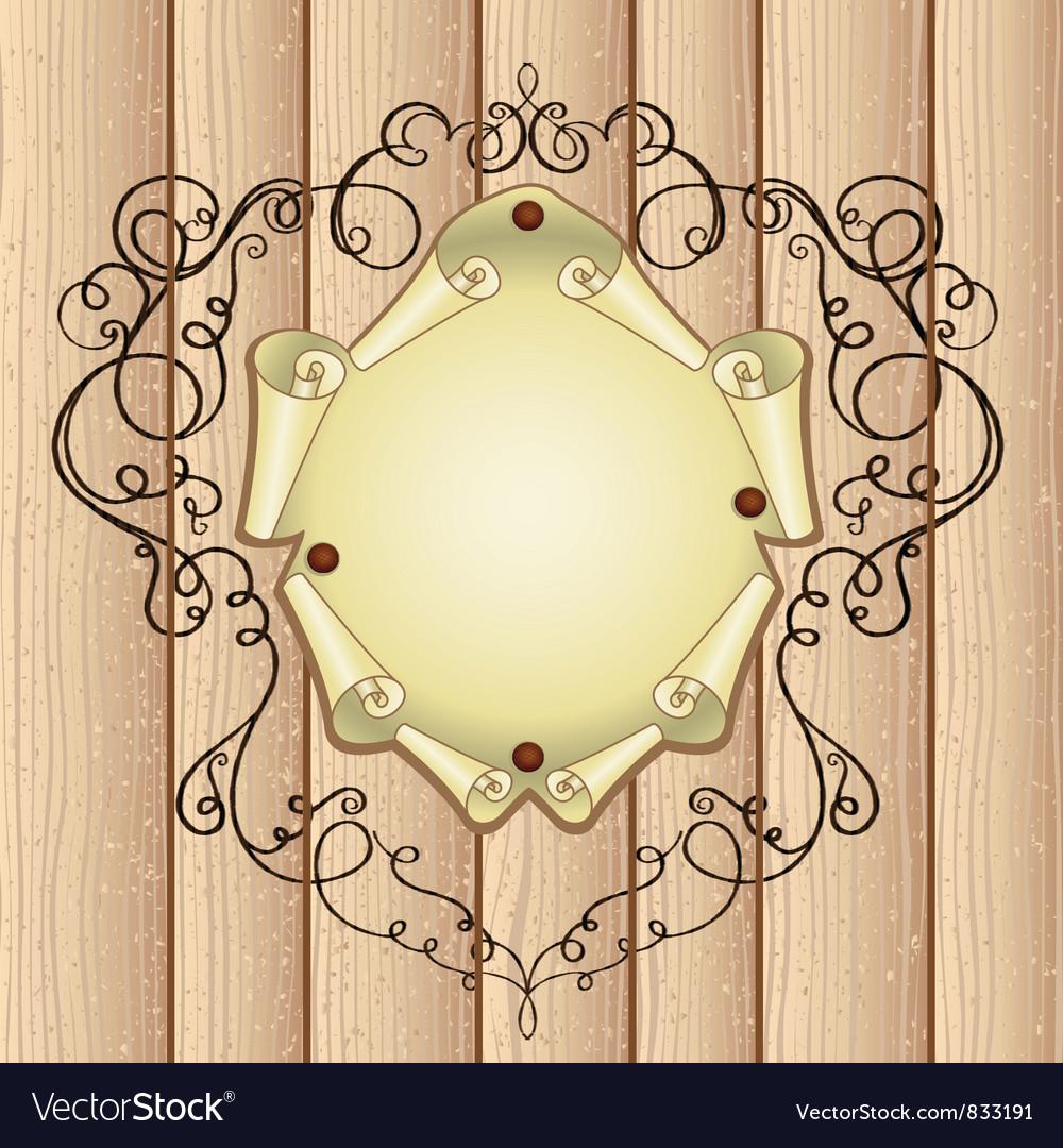 Wooden ornamental frame vector | Price: 1 Credit (USD $1)