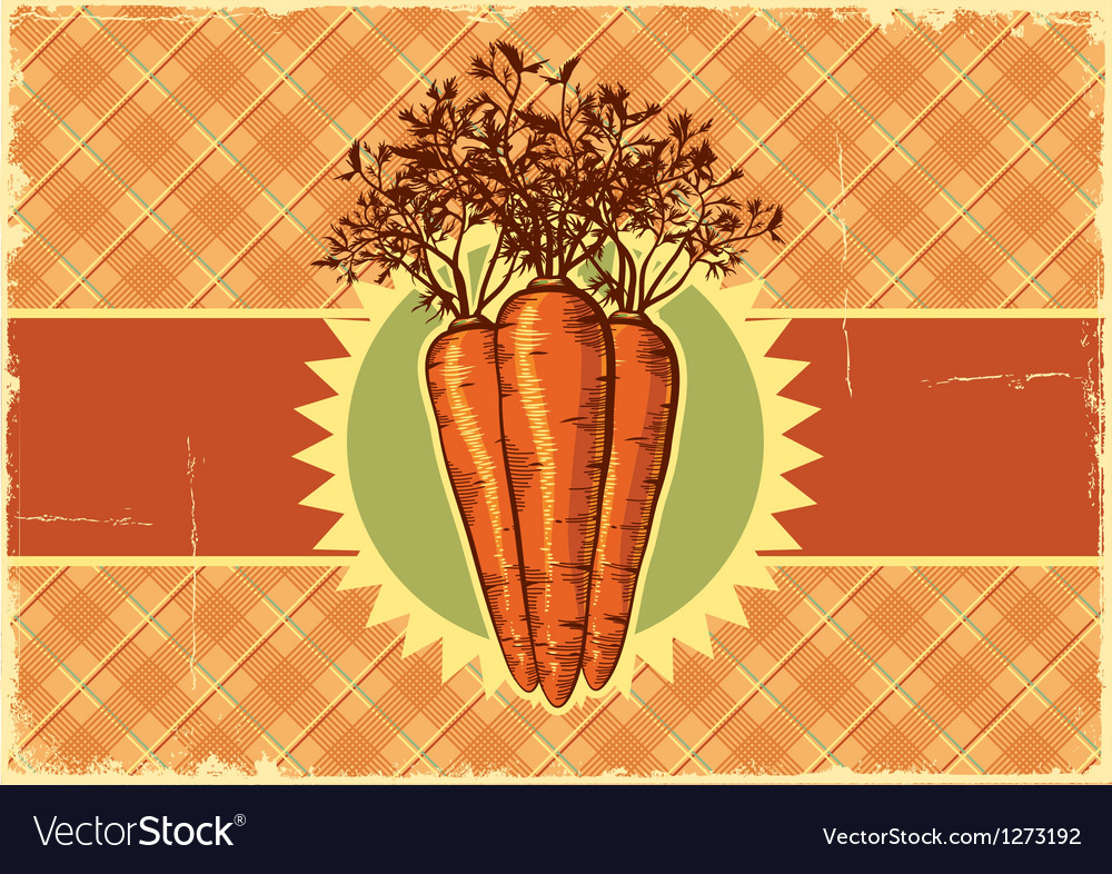 Carrots vintage label vector | Price: 3 Credit (USD $3)