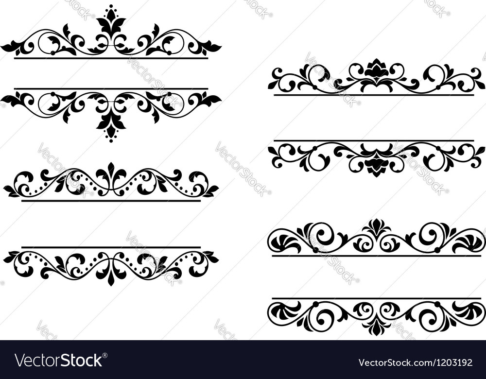 Floral headers and borders vector | Price: 1 Credit (USD $1)