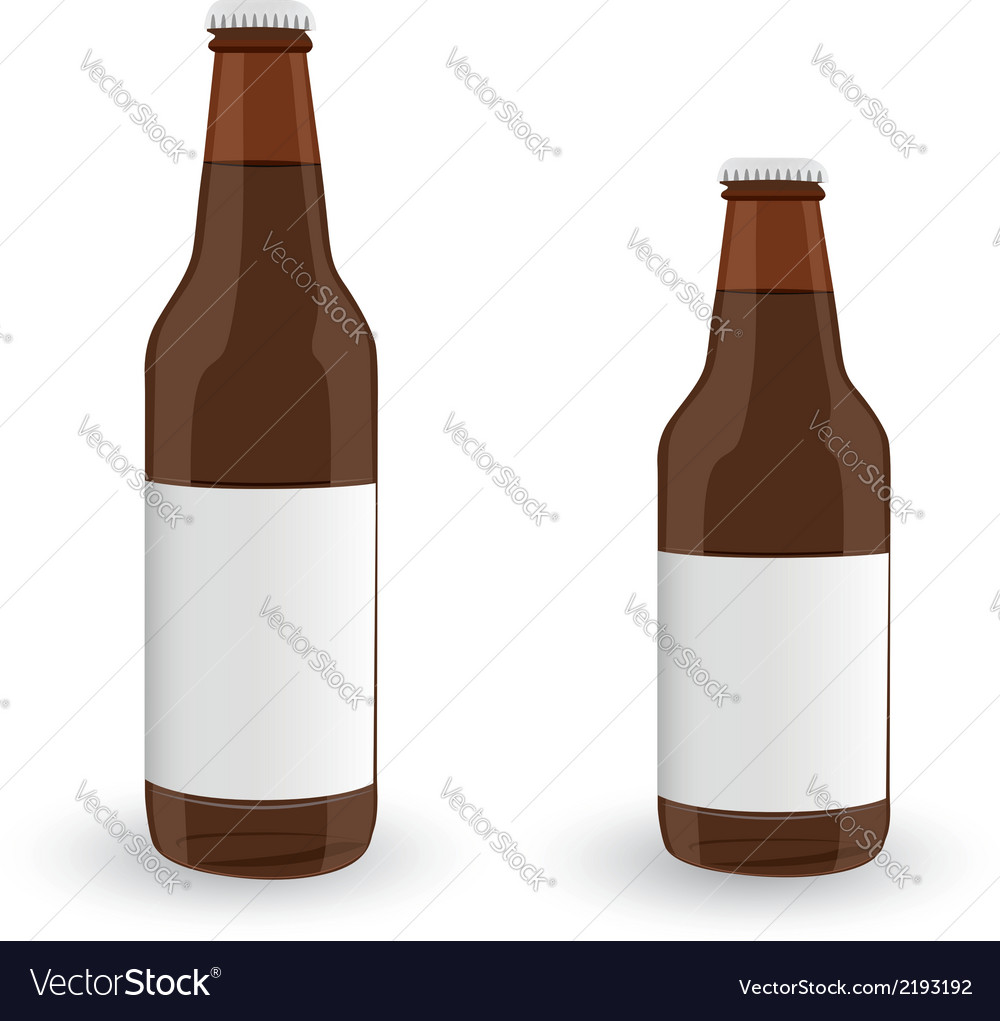 Glass beer brown bottle on white background vector | Price: 1 Credit (USD $1)