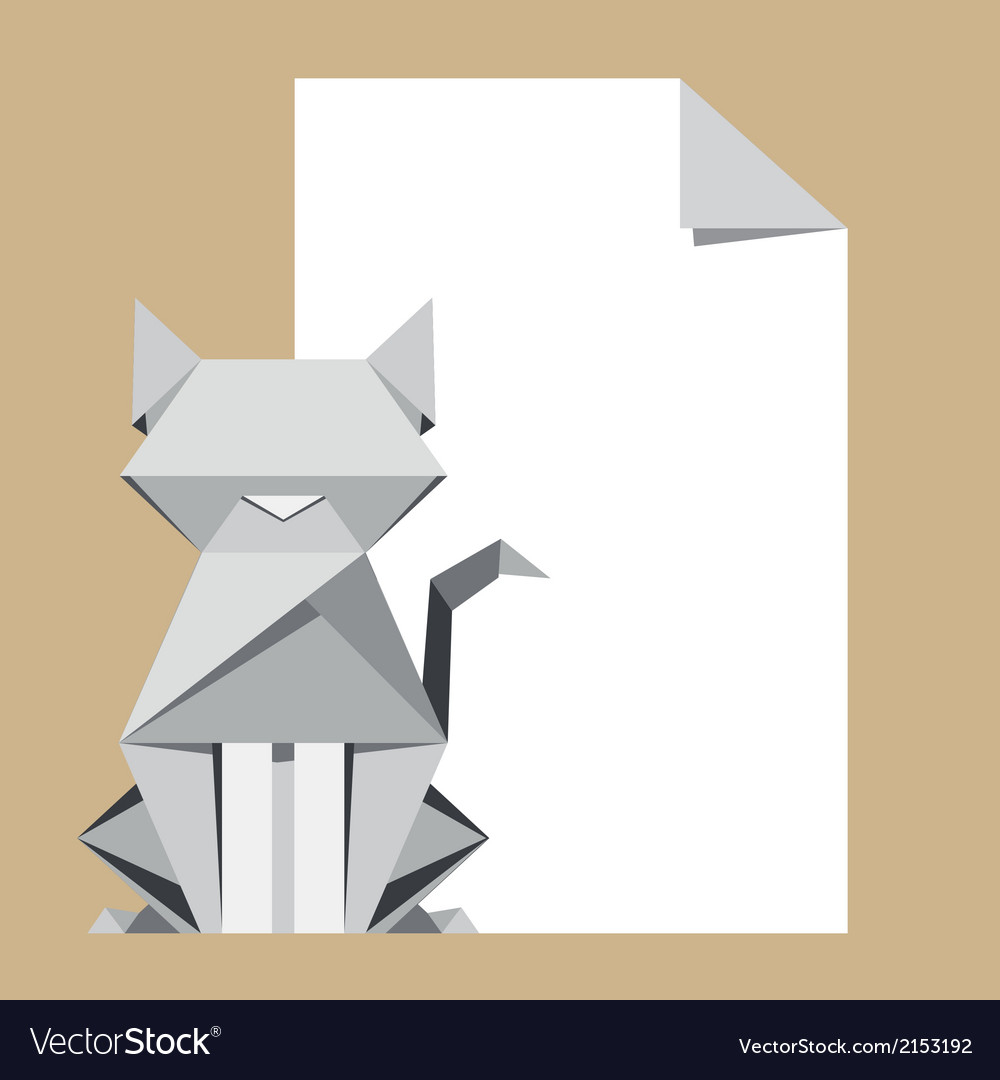 Origami cat with paper note vector | Price: 1 Credit (USD $1)