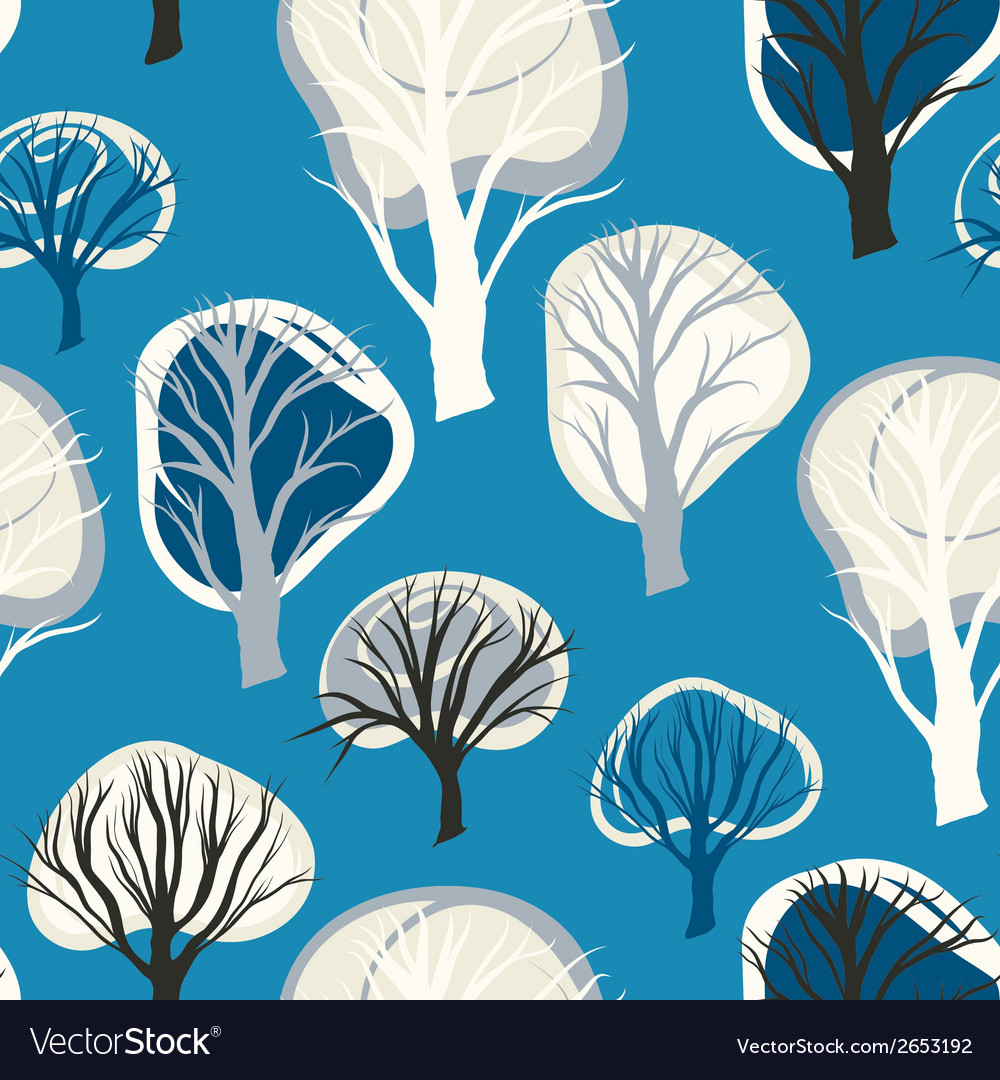 Seamless pattern with hand drawn decorative trees vector | Price: 1 Credit (USD $1)
