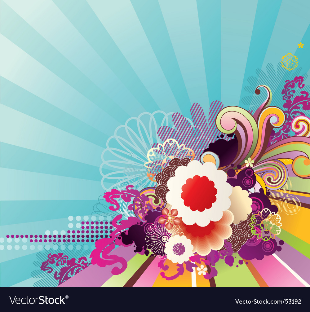 Striped background with floral ornament vector | Price: 1 Credit (USD $1)