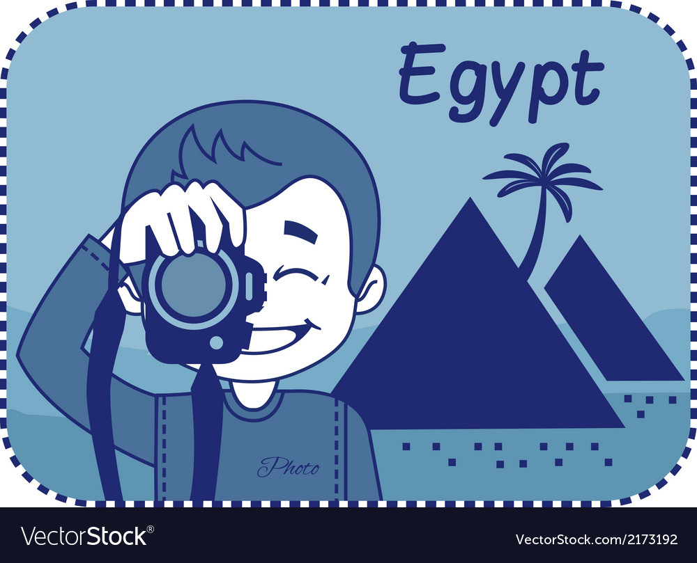 Teaser with photographer travels through egypt vector | Price: 1 Credit (USD $1)