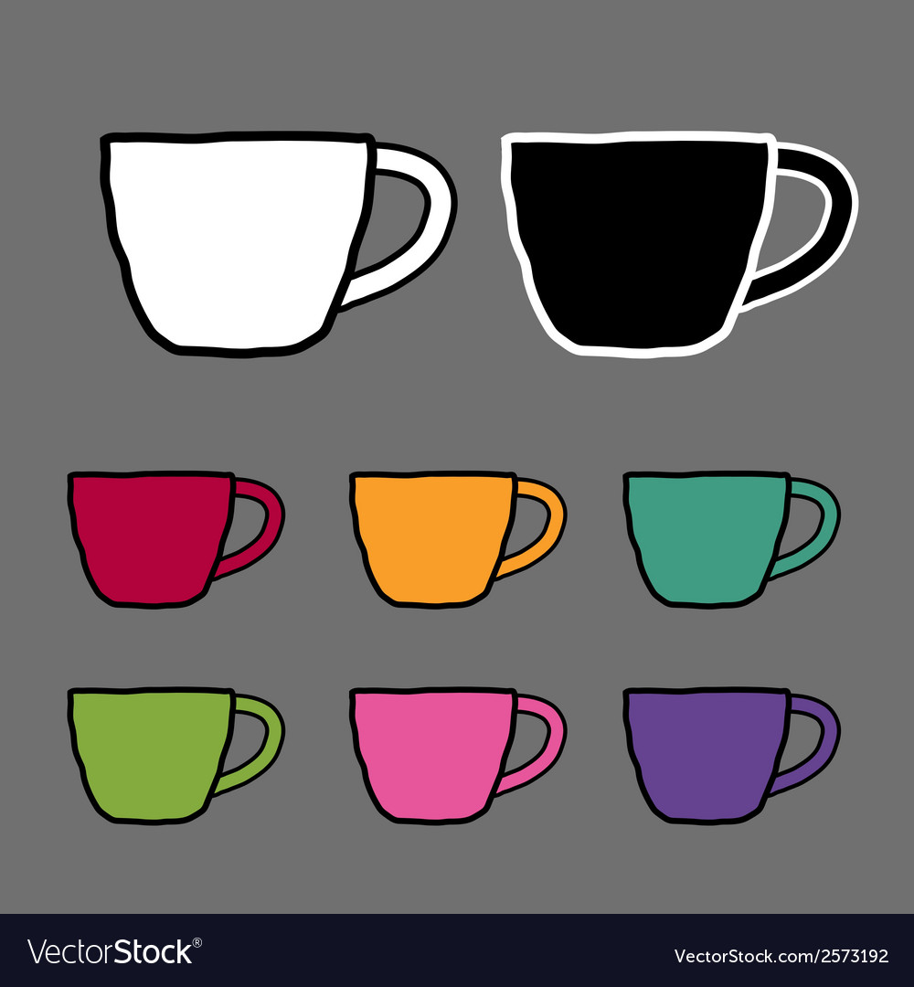 Vintage colored set mugs sketch drawing ill vector | Price: 1 Credit (USD $1)