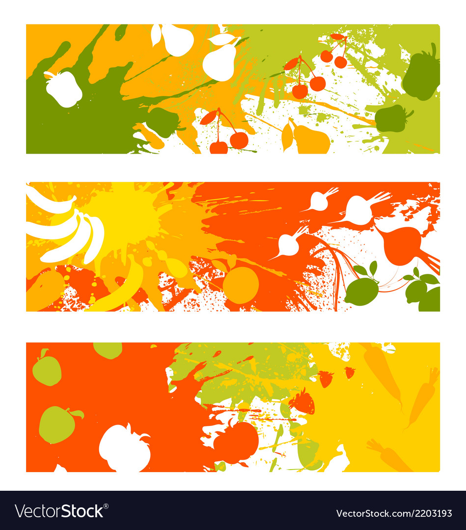 Abstract fruit vegetable banners vector | Price: 1 Credit (USD $1)