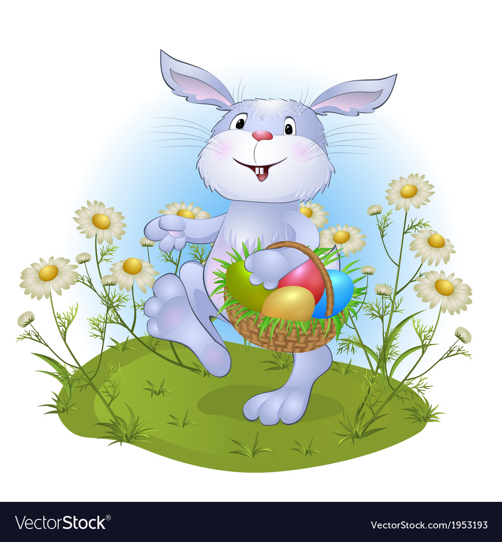 Amusing rabbit with easter eggs vector | Price: 1 Credit (USD $1)